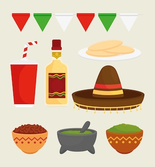 Set of delicious ingredients for prepare food mexican
