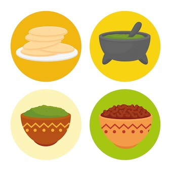 Set of delicious ingredients for prepare mexican food