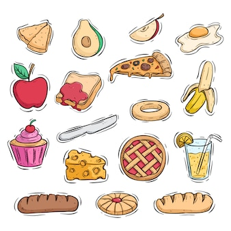 Set of delicious lunch food with colored doodle or hand drawn style