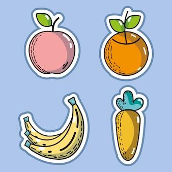 맛있는 장기 과일과 야채를 설정