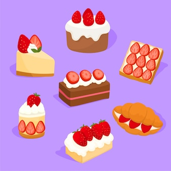 Set of delicious strawberries pies and candies