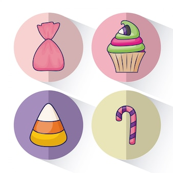 Set of delicious sweet cupcake and candies