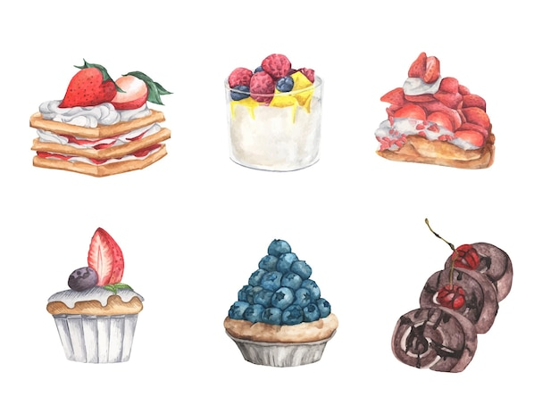 Set of delicious sweets and desserts, berry topping. watercolor illustration.