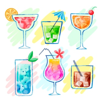 Set of delicious watercolor cocktails
