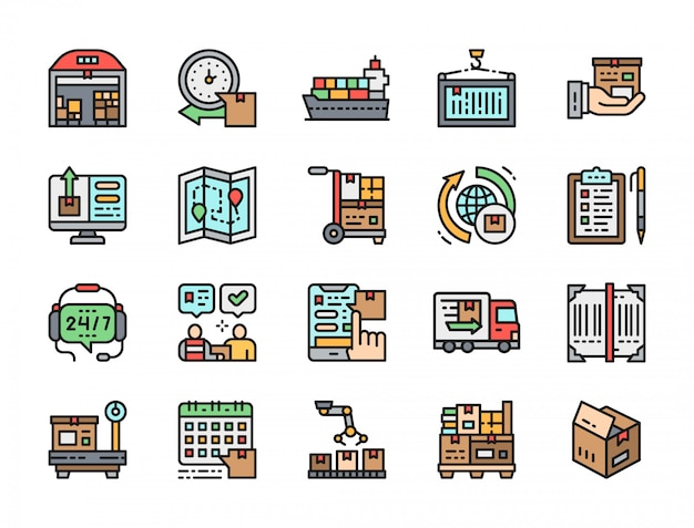 Set of delivery flat color icons.
