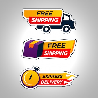 Set of delivery free shipping badge
