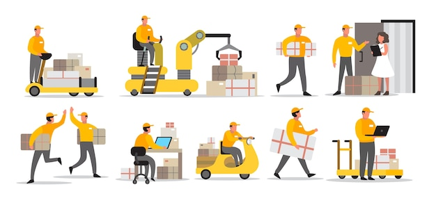 Set of delivery man. collection of courier in uniform holding box. character in a cap. delivery service.  illustration