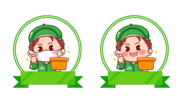 Set of delivery man logo set