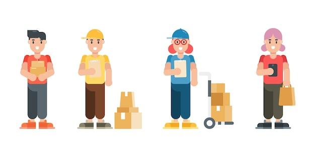 Set of delivery man and woman characters. modern cartoon man and woman characters in flat style.