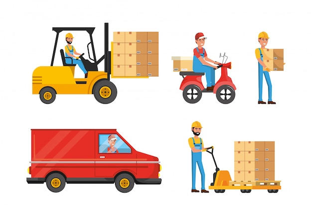 Set of delivery men with transport and boxes distribution service