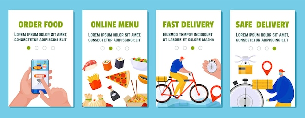 Set of delivery service banners