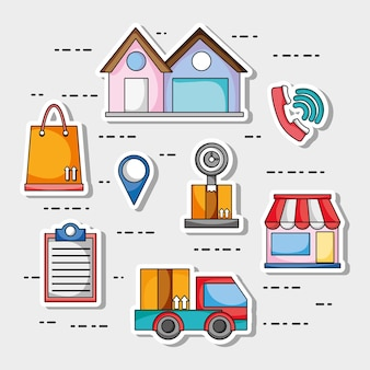 Set delivery shipping business service