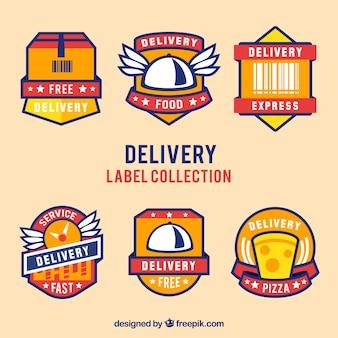 Set di adesivi di consegna a disegno piatto