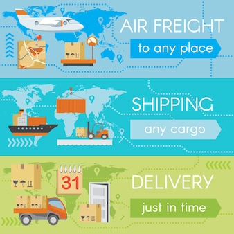 Set of delivery web banners. service transportation, cargo airplane, shipment and shipping,