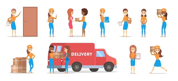 Set of delivery woman. collection of courier