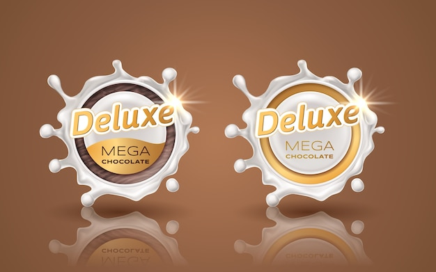 Set of deluxe design labels in gold color isolated on brown