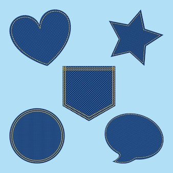 Set of denim patches shaped heart bubble star circle