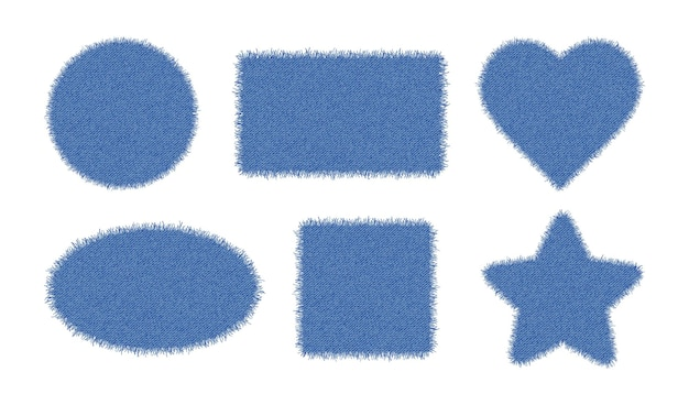 Set of denim shapes. torn jean patches - star, heart, circle, square, oval, rectangle.