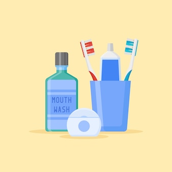 Set of dental cleaning tools. toothbrushes and toothpaste in glass, mouthwash, dental floss isolated on yellow background. flat style