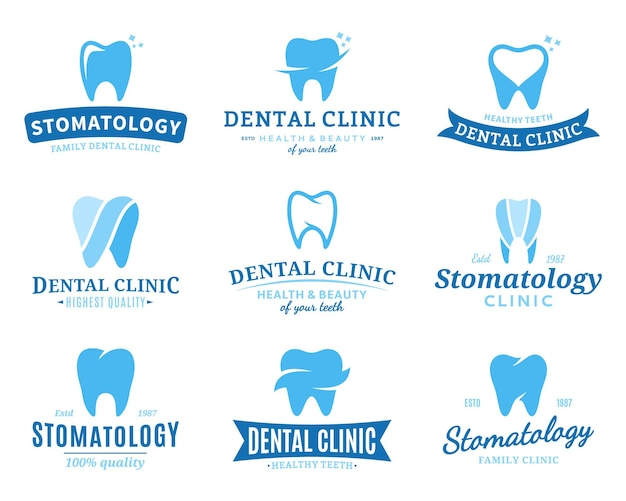 Set of dental clinic logo templates.