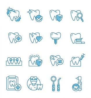 Set of dental icons with outline style.