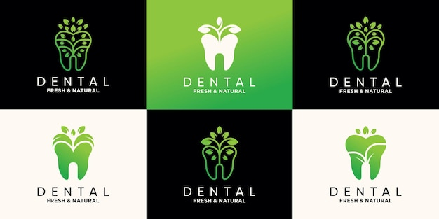 Set of dental logo design template with nature leaf style premium vector