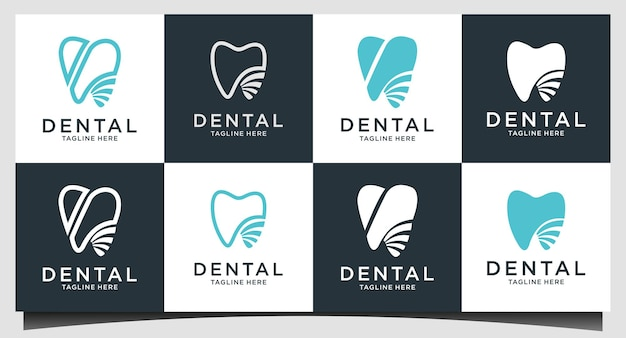 Set dental logo design template