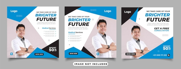 Set of dentist and dental care for social media post template