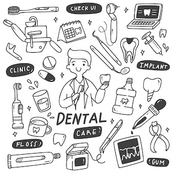 Set of dentist equipments doodle