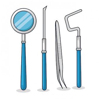 Set dentist medicine equipment to oral hygiene