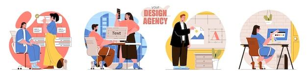 人物のキャラクターのデザインエージェンシーフラットデザインコンセプトイラストを設定