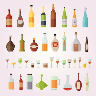 Установить дизайн бутылки алкоголя и очки иллюстрации