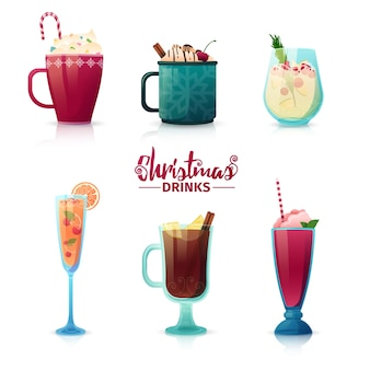 Set of design of christmas drinks in cartoon style