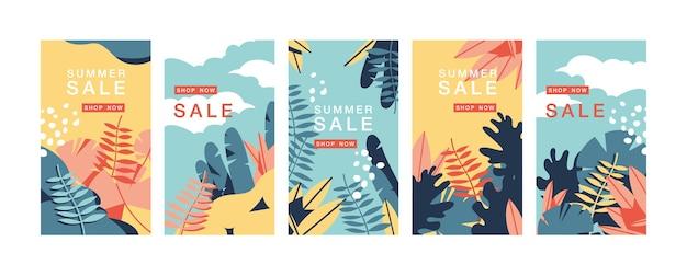 Установить дизайн красочных шаблонов фонов - истории обоев в социальных сетях. летняя распродажа, рекламный контент в социальных сетях. Premium векторы