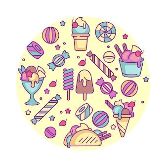デザインのカラフルなテンプレートのロゴとエンブレム-アイスクリームとジェラートを設定します。アイスクリームアイコンの違い。白い背景に分離されたトレンディな直線的なスタイルのロゴ。