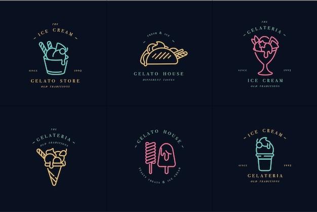 セットデザインのカラフルなテンプレートのロゴとエンブレム-アイスクリームとジェラート。ネオンカラー。