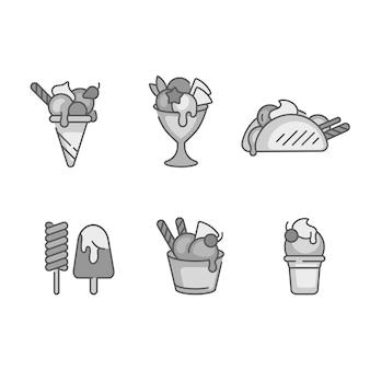 セットデザインカラフルなテンプレートのロゴとエンブレムアイスクリームとジェラート