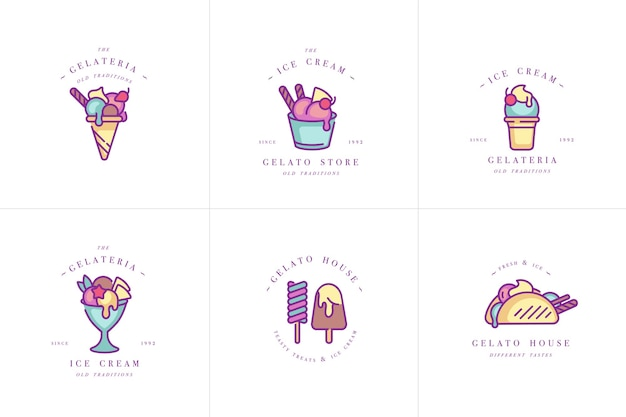 Set design colorful templates logo and emblems - ice cream and gelato. difference ice cream icons. logos in trendy linear style isolated on white background.