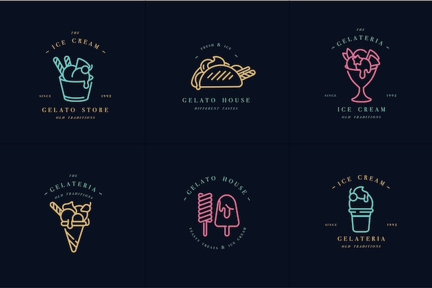 Set design colorful templates logo and emblems - ice cream and gelato.neon colors.