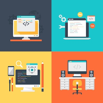 Set of design development services illustration