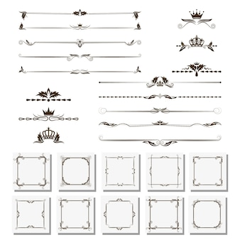 A set of design elements, frames, dividers, borders.