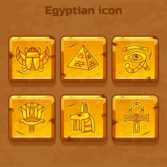 Set of   design golden egypt travel icons culture ancient elements