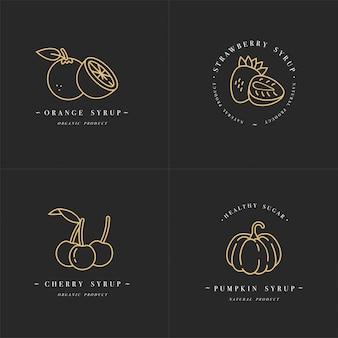 Установить дизайн золотых шаблонов логотипа и эмблем - сиропы и начинки из апельсина, вишни, клубники и тыквы. значок еды. логотипы в модном линейном стиле, изолированные на белом фоне.