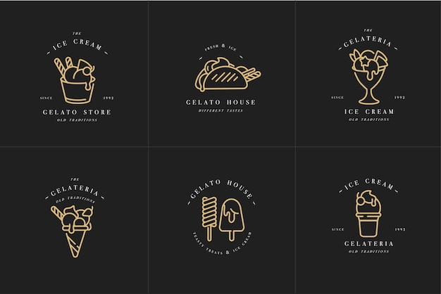 Set design golden templates logo and emblems - ice cream and gelato. trendy linear style isolated  .