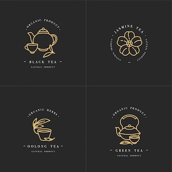 Set design golden templates logo and emblems - organic herbs and teas . different teas icon- jasmine, black, green and oolong . logos in trendy linear style isolated on white background.