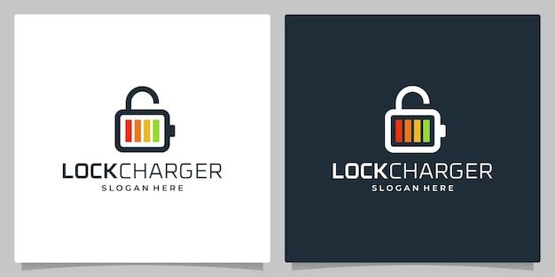 Set of design logo charging and logo padlock .premium vector