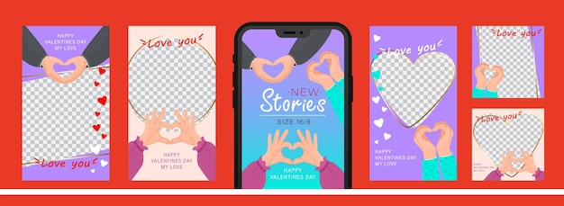 Set of design for stories with i love you heart sign. editable template for social networks stories.