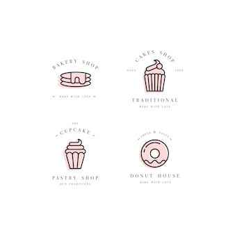 デザインテンプレートとエンブレム-カップケーキ、ドーナツ、ベーカリーショップの焼くアイコンを設定します。お菓子屋。