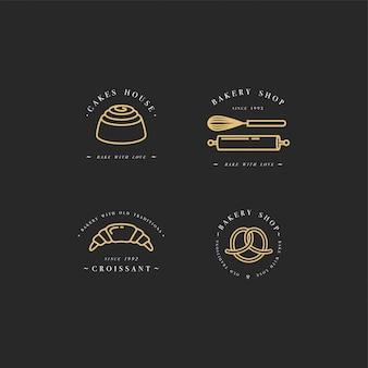 베이커리가 게에 대 한 컵 케 익, 도넛 및 빵 아이콘 디자인 서식 파일 및 엠 블 럼을 설정합니다. 달콤한 가게.