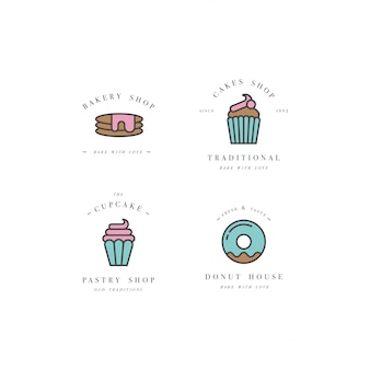 Set design templates and emblems - cupcake, donut and bake icon for bakery shop. sweet shop.